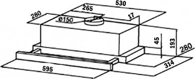 Кухонная встраиваемая вытяжка Weissgauff TEL 06 WHC