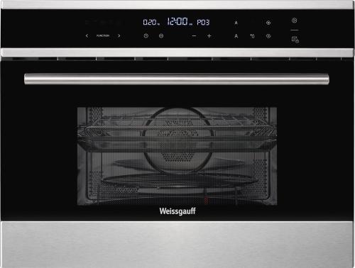 Встраиваемый компактный духовой шкаф с СВЧ Weissgauff OE 445 X фото